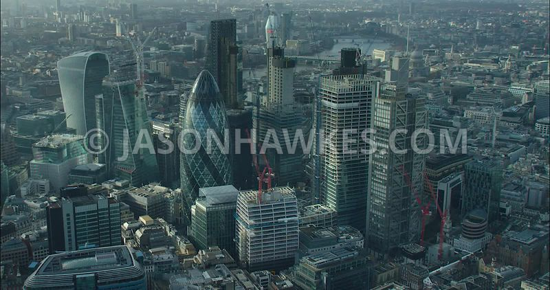 London Aerial footage, construction of 70 St Mary's Axe with 30 St Mary's Axe.