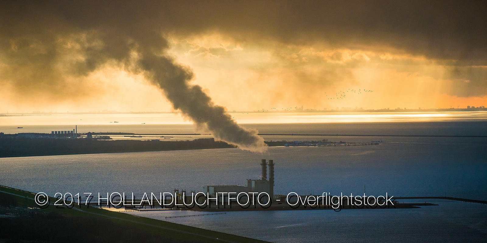 Electricity Station in the IJsselmeer Near the City of Lelystad Netherlands