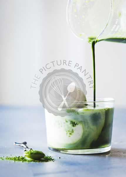 Matcha affogato ice cream dessert