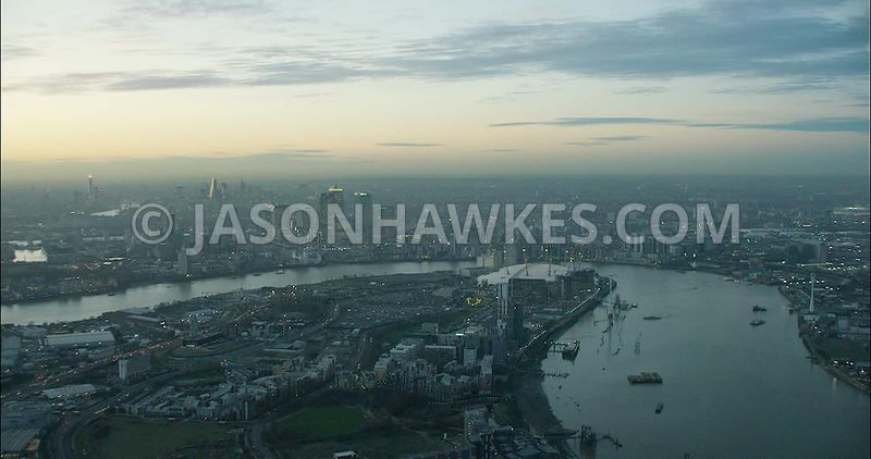 London Aerial Footage Greenwich Peninsula.