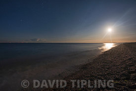 Cley beach in moonlight Norfolk summer