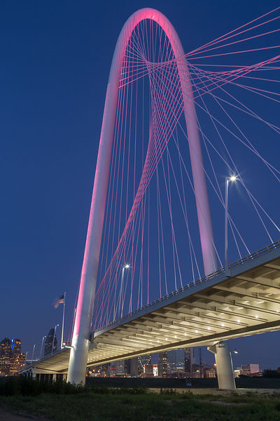 The Margaret Hunt Hill Bridge in Pink
