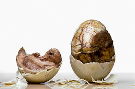 Balut, a Philippine speciality eaten mainly by men and believed to enhance masculinity, is a duck egg containing a full embryo. The fertilised eggs are allowed to go to half term before being cooked..