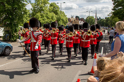 Irish Guards Band Marching along Horsefair in Banbury