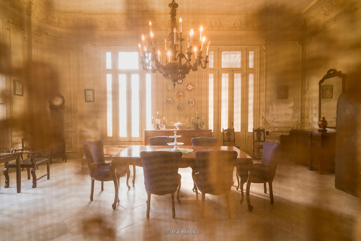 Dining room of an old Havana home in Cuba.