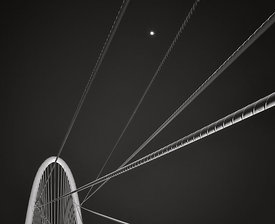 The Margaret Hunt Hill Bridge with Moon