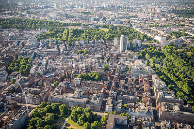 Aerial view of London, South Audley Street with Berkeley Square, Mayfair.