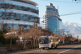 A bus on a street in Santiago, Chile.