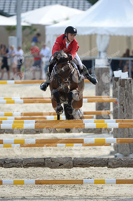 THOMAS Gilles, (BEL), CONARO during  competition at European Jumping Championship for Children, Juniors, Young riders at Lake Arena, Wiener Neustadt - Austria