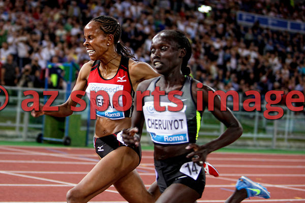 2012 Rome Golden Gala - Rome Diamond League,5000 Metres.Vivian Jepkemoi Cheruiyot from KEN wins the race 14:35.62..Meseret Defar ETH 14:35.65second pace