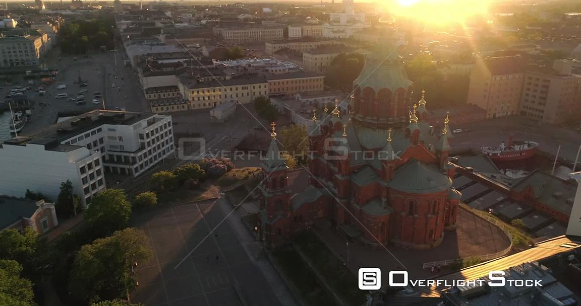 Helsinki City, Aerial View Around Uspetski Cathedral and Its Golden Cupole, in the City, on a Sunny Summer Evening Dusk, in Helsingfors, Uusimaa, Finland