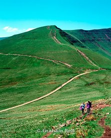 walkers brecon beacons national park with pen y fan in distance powys wales