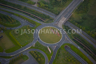 Aerial view of Terminal 5 roundabout at Heathrow Airport