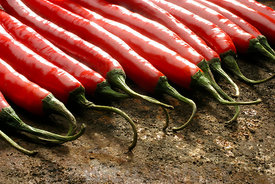 Row of red chillies