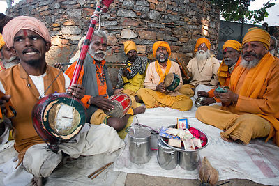 A group of Sadhus play music in Pushkar, Rajasthan, India