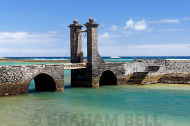 Puente de las Bolas (Bridge of the Balls) drawbridge Arrecife capital city of Lanzarote, Canary Islands, Spain.