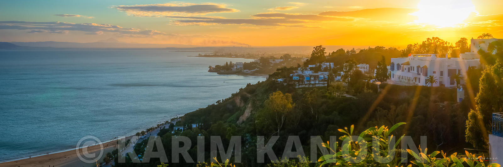 Panorama - View from Sidi Bou Said at sunset time