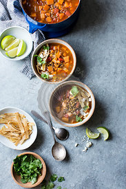 Smoky Sweet Potato & Lentil Tortilla Soup, gluten free and vegan.