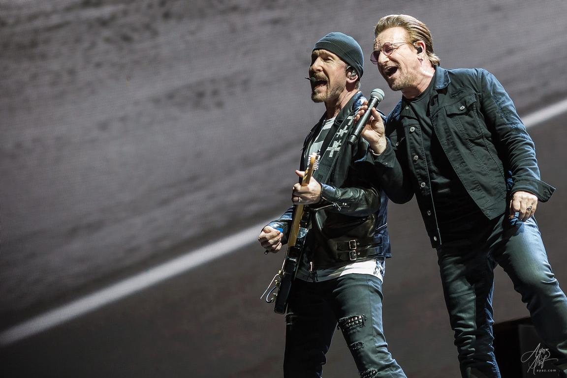 "Bono and The Edge performing ""Where The Streets Have No Name"" - FedEx Field in Landover, Maryland"