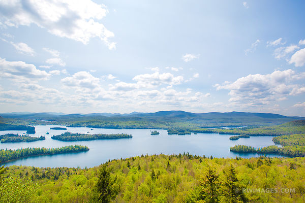 BLUE MOUNTAIN LAKE FROM CASTLE ROCK ADIRONDACK MOUNTAINS COLOR