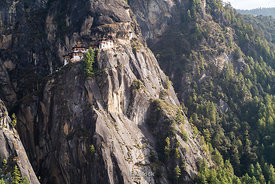 Paro Taktsang (Tigers Nest) temple enveloped in fog in upper Paro valley, Bhutan.