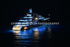 Superyacht Ocean Victory at night