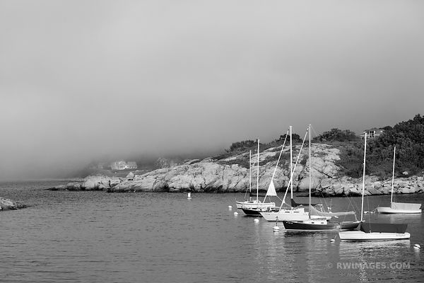 FOG SAILBOATS IN HARBOR ROCKPORT FISHING VILLAGE CAPE ANN MASSACHUSETTS BLACK AND WHITE