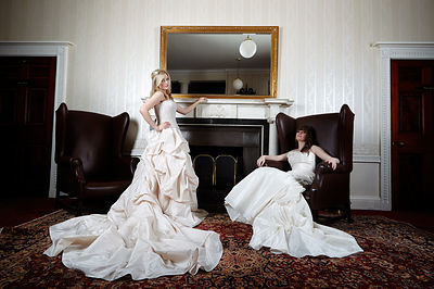 Wedding dress Fashion shoot for Porfile / What Women Want at Woolley Hall with Charlotte Hadley and Eleanor Jodrell-Gregson