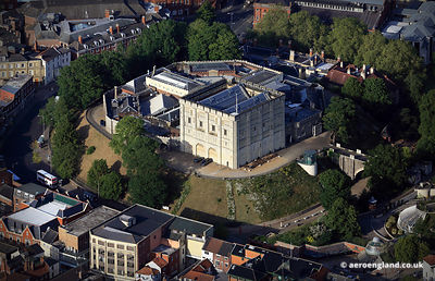 aerial photograph of Norwich Castle  , Norfolk, England UK.