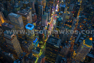 Aerial view of Times Square at night, Midtown, Manhattan, New York City