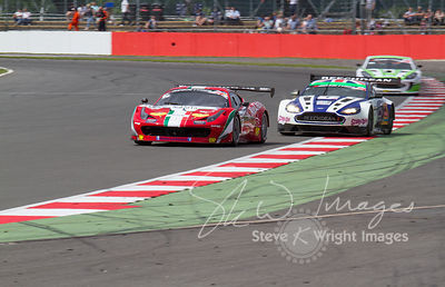 The AF Corse Ferrari 458 Italia GT3 and Beechdean Aston Martin Racing Vantage GT3 cars, in action at the Silverstone 500 - the third round of the British GT Championship 2014 - 1st June 2014