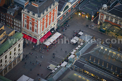 Aerial view of Covent Garden at dusk, London