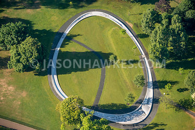 Aerial view of London, Hyde Park with Princess Diana Memorial Fountain.