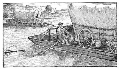Meeker and other settlers cross the Missouri River