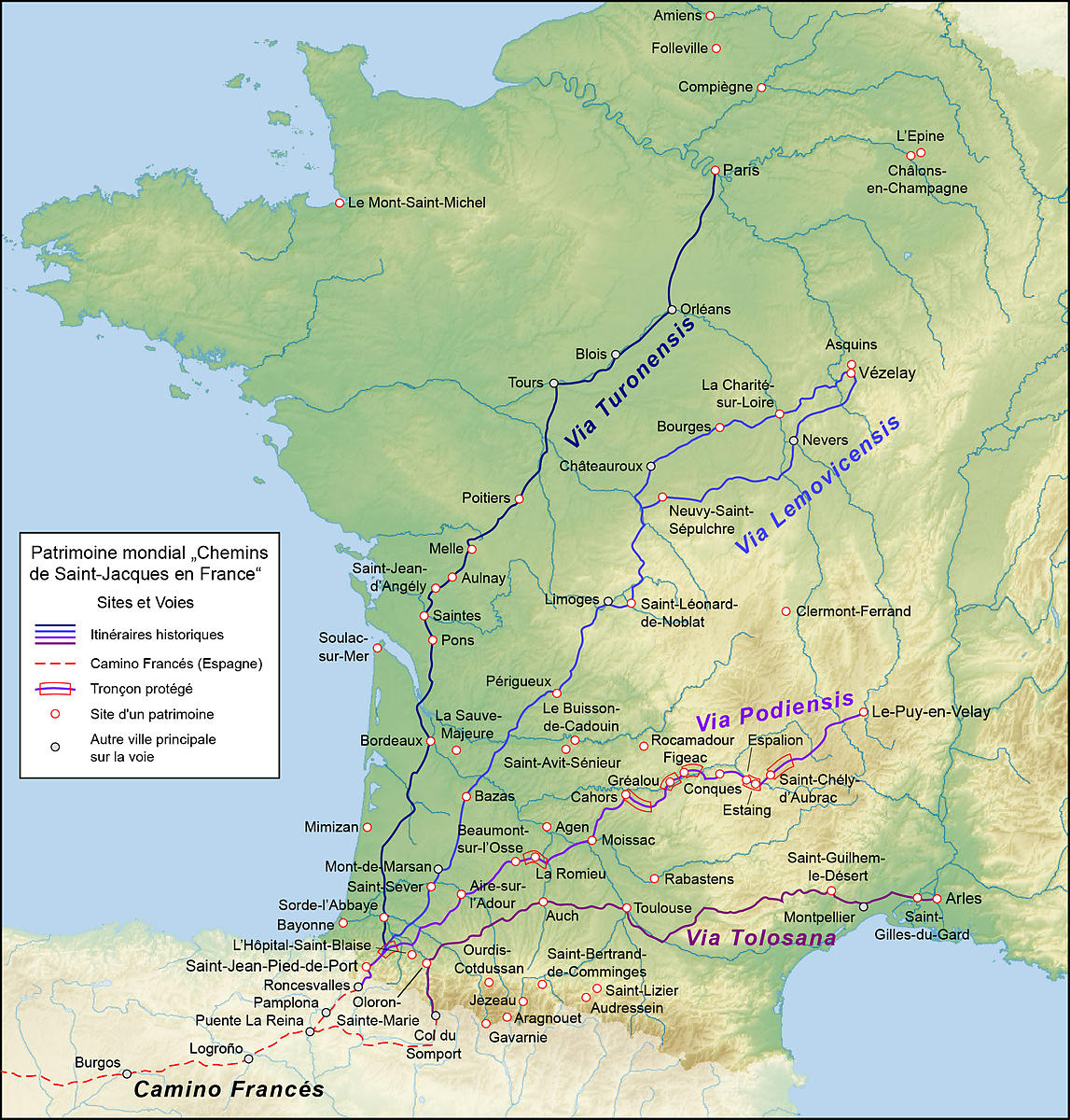 Les chemins de Saint-Jacques en France