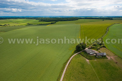 Aerial view of farmland and fields