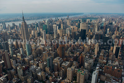 Aerial view of the skyscrapers in Midtown including the 1,250 ft Empire State Building