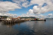 Dunoon Quay, with car ferry leaving. scotland.