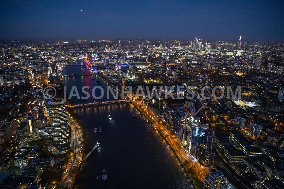 Night aerial view of Albert Embankment and River Thames, London.