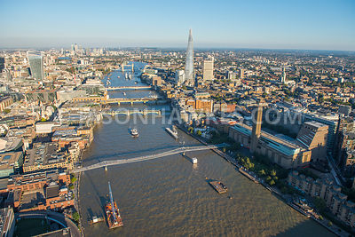 Looking east along the River Thames from Millennium Bridge to Tower Bridge