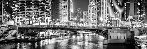 Chicago river dearborn street bridge panorama photo