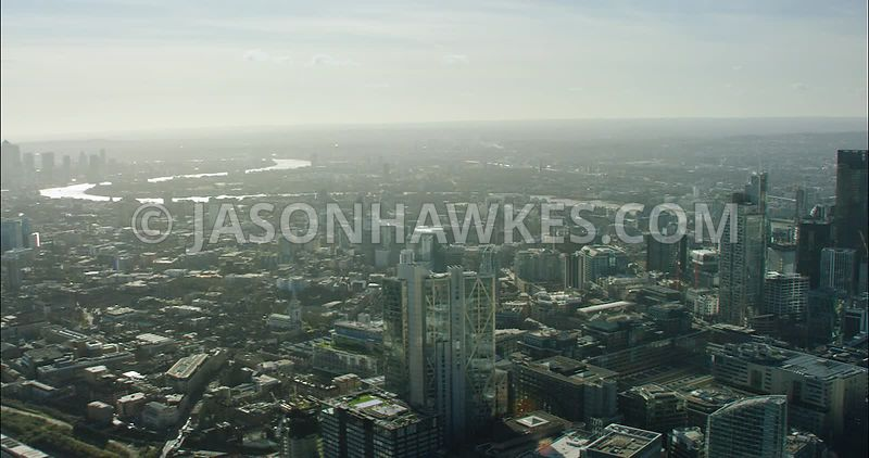 London Aerial Footage of City of London skyline.