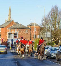 Huntsman and hounds arrive at the Boxing Day Meet of the Cottesmore Hunt, Oakham 26/12