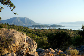 skorpios island from Spartochori, Meganisi, Ionian Islands, Greece.