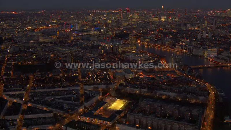 Aerial footage of Pimlico at night, London