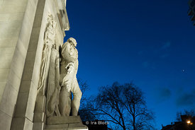 'Washington at Peace' statue on the Washington Square Park arch in Manhattan, New York City