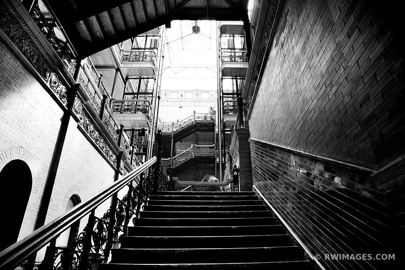 STAIRCASE BRADBURY BUILDING LOS ANGELES CALIFORNIA BLACK AND WHITE