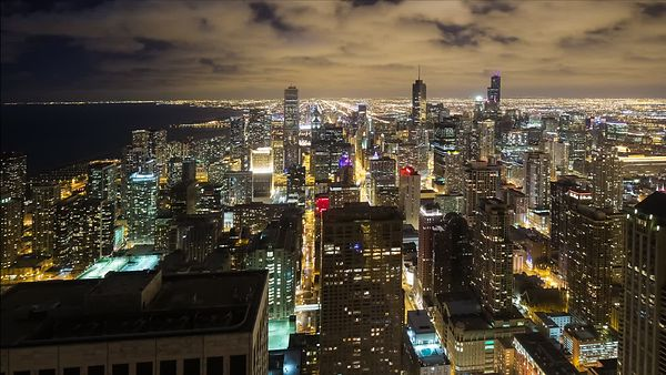 Bird's Eye: Wide Shot - Stratus Clouds Soaring Over the Tops of Chicago's Tallest Giants