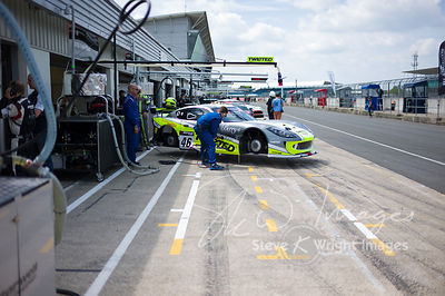 The Twisted Team Parker Ginetta G55 GT4 in the pit lane, pre-race, at the Silverstone 500 - the third round of the British GT Championship 2014 - 1st June 2014