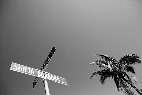 SANTA BARBARA STREET SIGN CALIFORNIA BLACK AND WHITE